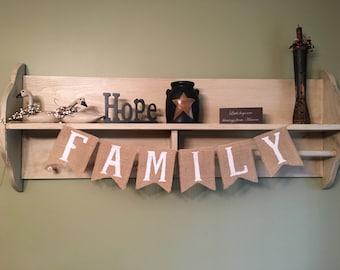 Family burlap banner, Family burlap bunting, Family picture photo prop, Burlap family banner, Burlap banner, Burlap home decor