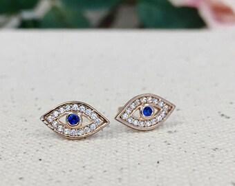 Evil Eye Earrings, Rose Gold Stud Earrings, Dainty Small Rose Gold Studs, Good Luck Charm, Evil Eye Jewelry, Cz Diamond Rose Gold Earrings