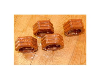 "Brown ceramic napkin rings set of 4 Bamboo asian style 2"" hand glazed 1980s"