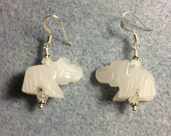 White jade gemstone elephant bead earrings adorned with sparkly white Chinese crystal beads.