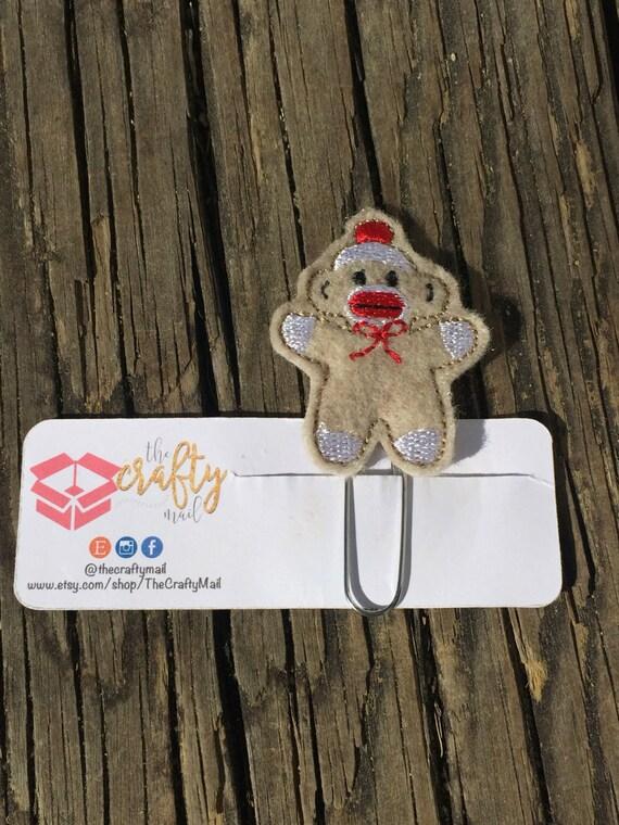 Sock Monkey Clip/Planner Clip/Bookmark. Monkey planner clip