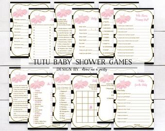 TUTU BABY SHOWER Games Pack , Tutu Baby Shower , Baby Girl Shower , Pink and Gold Baby Shower , Ballet Baby Shower , Pink and Gold Glitter