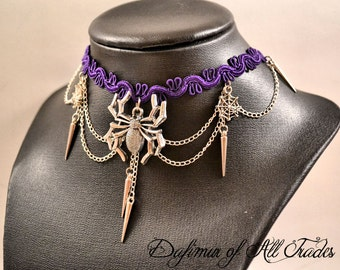 Kit Choaker and earrings gothic Necklace black lace spider drow priestess dark web