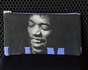Jimi Hendrix Gray and Purple  Up-cycled Zipper pouch. Make-up bag. Money Clutch. Pencil pouch.