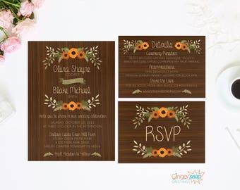 Rustic Fall Wedding Invitation