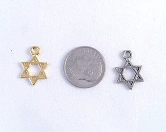 Add a Star of David Charm with Jump Ring, Silver Or Gold Plated, Add a Charm to a bracelet or necklace, Charms for Earrings