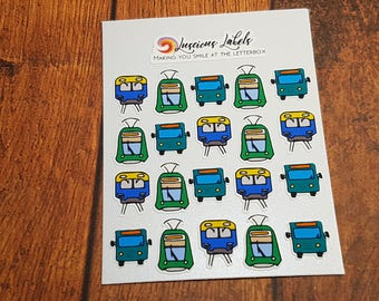 Public Transport Mini Icons | Bus | Train | Tram