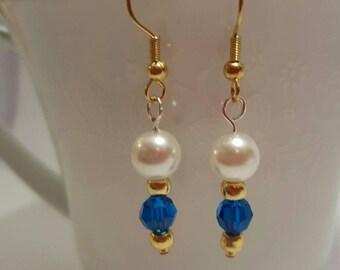 Blue Swarovski and pearl dangle earrings