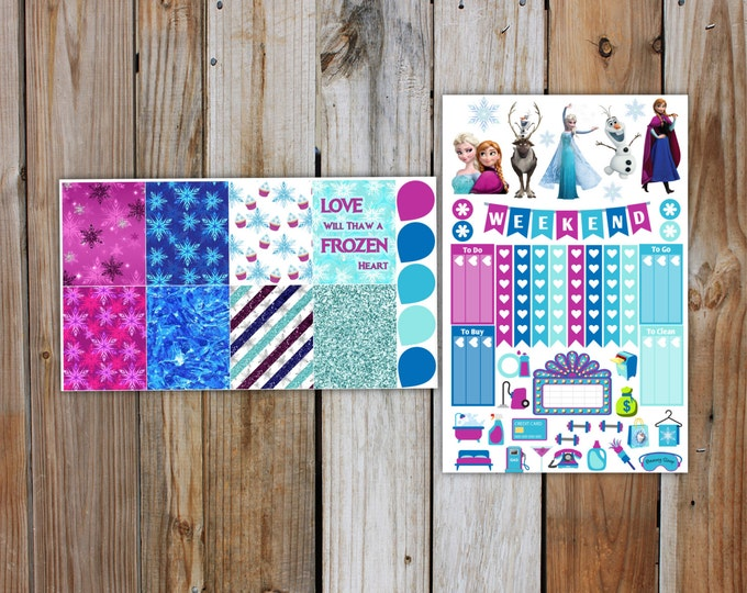Frozen Planner Stickers Kit (7 pages) | Christmas Planner Sticker Kit | for use with ERIN CONDREN LifePlanner