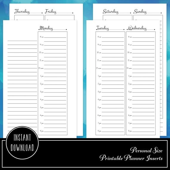 Planner Printable Insert Refill Undated Hourly WO4P Personal Size- Filofax Kikki K ColorCrush Erin Condren width columns