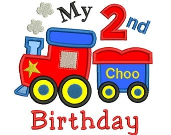 2nd Birthday Train Applique Machine Embroidery Design, Second Birthday, Number 2 Embroidery Design, 3 Sizes, Instant Download, No: SA510-25
