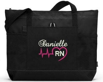 Heart Beat Personalized Rn, Lpn, Nurse, Emt Embroidered Zippered Tote Bag With Mesh Pockets, Beach Bag, Boating