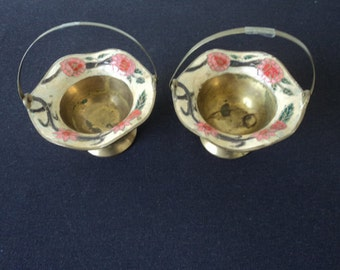 Pair of French Vintage decorative brass and enamel baskets (P00082)