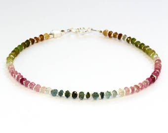 Tourmaline bracelet; Karen Hill Tribe silver; 8th anniversary; Delicate bracelet; green; pink; blue; Stacking; Layering; Bridesmaid; Summer