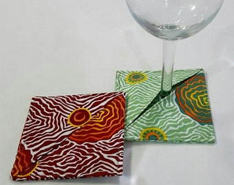 "Slip on Wine Glass Coasters (pack of 2) in Aboriginal prints called ""Salt Plain"""