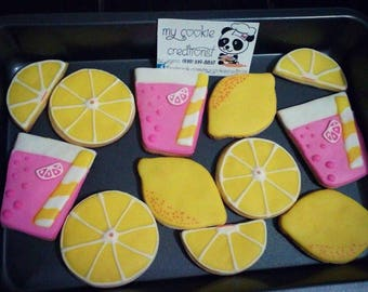 Lemonade Party Sugar Decorated Cookies