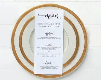 Printable Wedding Menu - Party Menu - Custom Menu - Wedding Menu - 4 x 9 Menu - Wedding Template - Digital Calligraphy