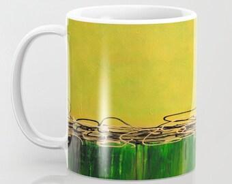 Green Mug, Yellow Mug, Abstract Art Mug, Coffee Cup, Tea Mug, Unique Mugs, Ceramic Coffee Mug, Gifts, Mugs for Him, Housewarming Gift