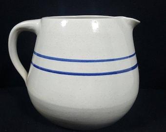 Vintage Marshall Pottery Large Pitcher Blue Stripes