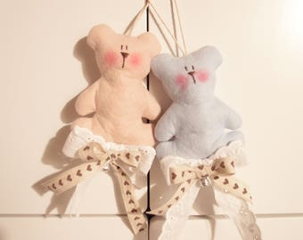 Decorum teddy bear, bow birth, decoration for small room, bow for baby carriage, crib decorations, teddy bear