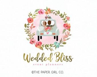 wedding logo bride logo groom logo flower wreath logo premade logo wedding planner logo event planner logo wedding monogram logo design