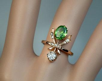 Antique Art Nouveau 1.22 Ct Demantoid Diamond Gold Ring