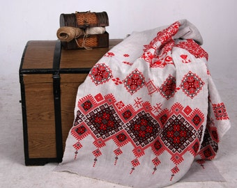 Linen Towel Embroidered by Hand,  Embroidered Rushnik, Embroidered Traditional  towel