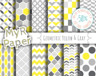 "Geometric digital paper: ""GEOMETRIC YELLOW & GRAY"" digital paper pack with yellow and grey geometric backgrounds"
