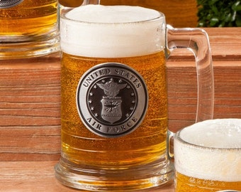 Personalized Beer Stein-Personalized Beer Mug-Air Force Beer Mug-Miltary Emblem Beer Stein-Bachelor Party Beer Steins-Gifts for Him (GC1221)