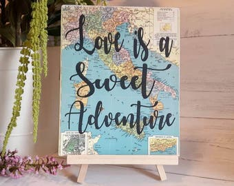 Travel theme wedding, wedding decor,  adventure themed bridal shower, baggage claim sign, travel themed party; love is sweet; dessert table