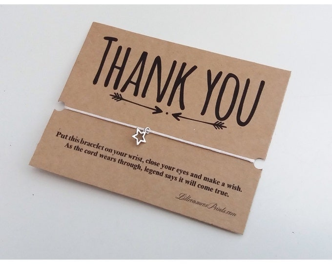 Thank you wish bracelet | Party Favour | Friendship Bracelet | Wish band | Christmas Gift | Charm Bracelet & Card. Can be personalised.