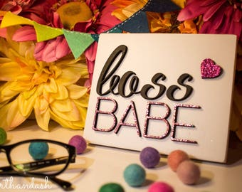 Boss Babe Mini Wood Sign