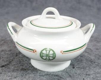 Onondaga Pottery O.P. Co. Syracuse China Sugar Bowl With Lid C. 1897 - 1926