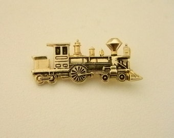 Gold Tone Train Engine Pin Brooch
