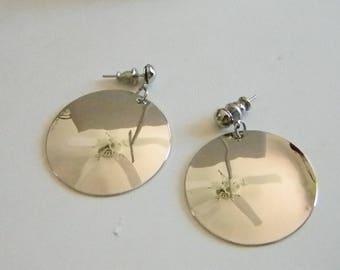 Silver Tone Round Dangle Post Pierced Earrings