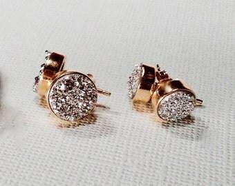 Druzy Stud Earrings 8mm, Silver Druzy, Drusy Studs, Gold Druzy Studs, Druzy Post, Drusy Earrings, Gold Plated Silver Earrings