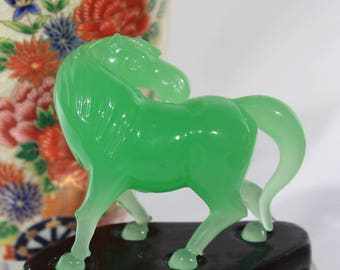 Miniature Green Peking Glass Horse Figurine and Custom Wood Stand, Asian Home Decor