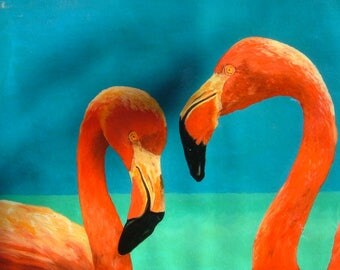 flamingos painted oil on canvas measures 48 x 70 cm. No frame