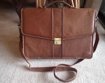 Amiel Colombian Vachetta Leather Briefcase Attache Combination Lock