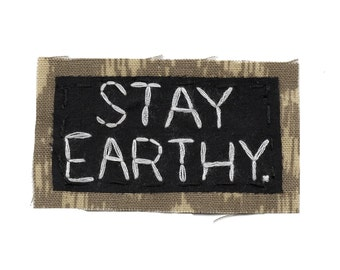 STAY EARTHY || Vegan Shirt Vegetarian Shirt Embroidery Patches Back Patch Foodie Pin Canvas Backpack | Organic Clothing | College Backpack
