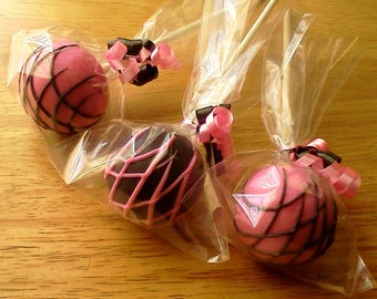 Pink Lady Cake Pops, Pink and Black Cake Pops, Pink Cake Pops, Black Cake Pops, 1 Dozen