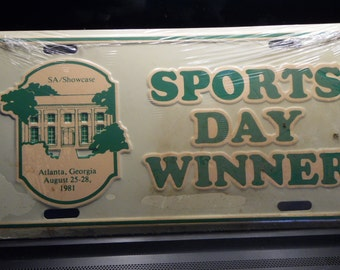 Atlanta Georgia August 1981 Sports Day Winner license plate