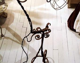 Up-cycled Wrought Iron Floor Lamp, Floor Lamp, Wrought Iron Lamp