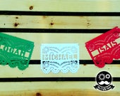 Name papel picado banner / Mexican banner / Colorful banner / Multi color banner / Fiesta banner / papel picado banner