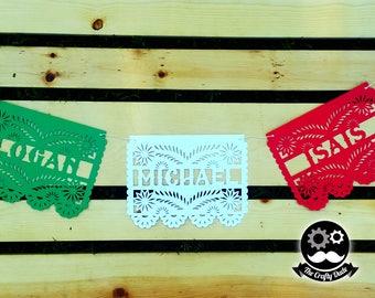 Name papel picado banner / Mexican banner / Colorful banner / Multi color banner / Fiesta banner / papel picado banner