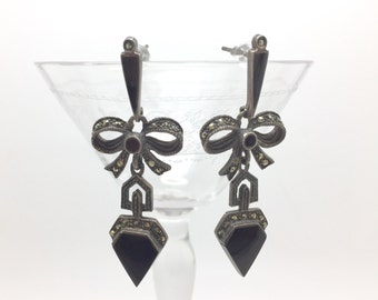 Vintage earrings made of sterling silver, Marcasites and Onyx, c. 1980