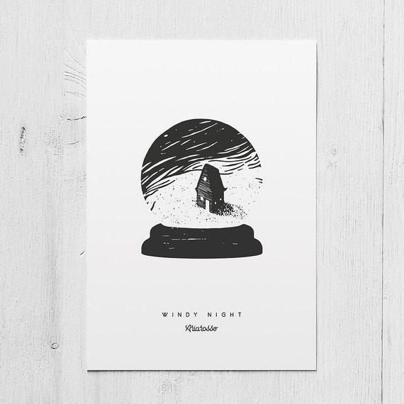 Poster Art Print - Windy Night -  Blackwork Series A5 Size - House Win...