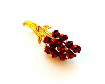 Vintage W or M Signed Gold and Red One Dozen Roses Pin Brooch