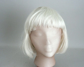 Womens White Straight Hair Wig With Bangs