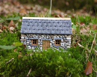 Stone Fairy House for the garden ~  'Forget-Me-Not Cottage'